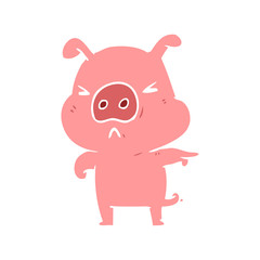flat color style cartoon angry pig pointing