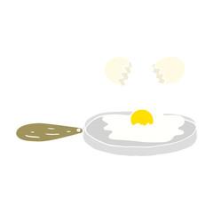 frying flat color illustration of a cartoon egg