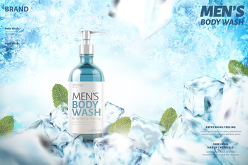 Cooling men's body wash