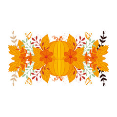 autumn pumpkin and floral decoration