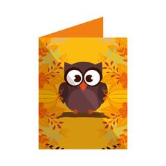 cute owl bird in postcard