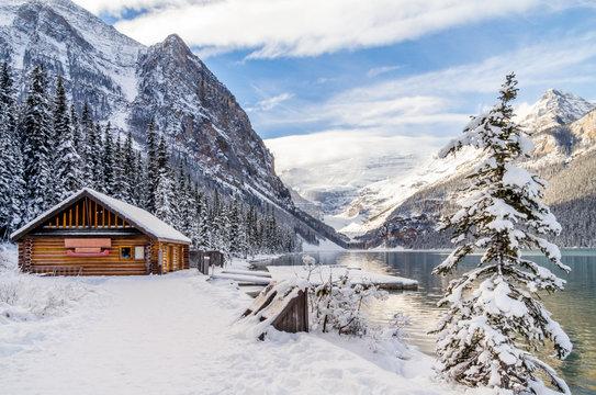 Boathouse Along Glacier Fed Mountain Lake