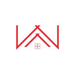 letter w home window logo vector