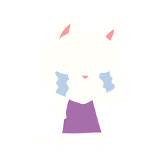 crying flat color style cartoon cat in dress pointing