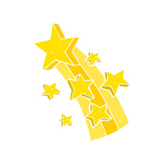 flat color illustration of a cartoon shooting star
