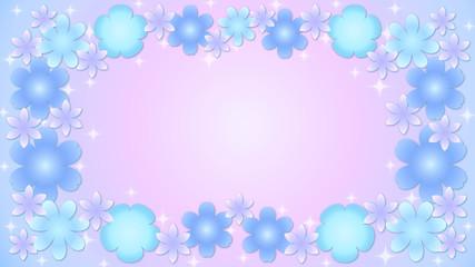 花のフレーム・青1
