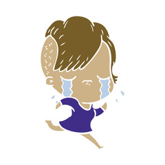 flat color style cartoon crying girl running away