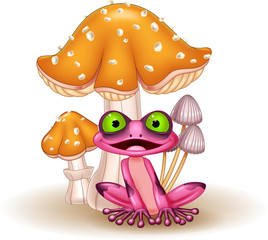 Cartoon funny frog with mushrooms