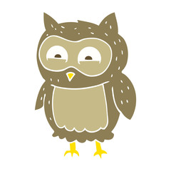flat color illustration of a cartoon owl