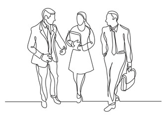 continuous line drawing of three business professionals walking talking