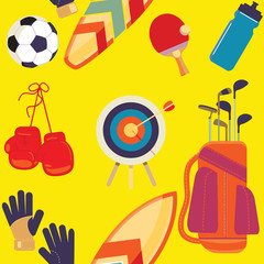 Sports Equipment, Flat Objects Set, Icons, Recreation and Leisur