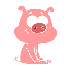 happy flat color style cartoon pig sitting