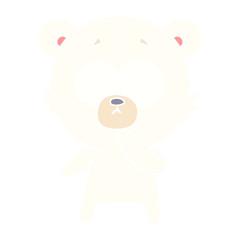 nervous polar bear flat color style cartoon