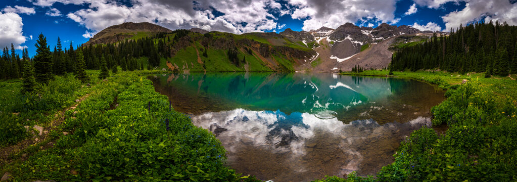 Blue Lake near near Ridgway Colorado with Mountain Sneffels, Dallas Peak and Gilpin Peak in the background