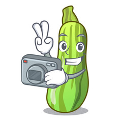 Photographer fresh green zucchini in cartoon box