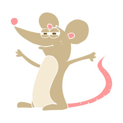 flat color illustration of a cartoon mouse