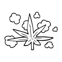 line drawing cartoon marijuana leaf