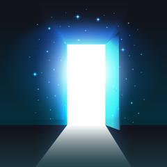 Light from the open door of a dark room, abstract mystical glowing exit, open door template, background, mock up
