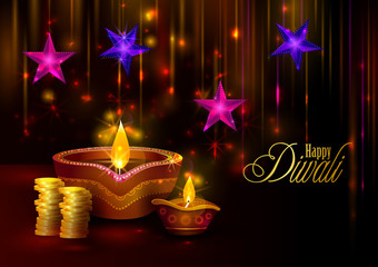 Happy Diwali light festival of India greeting background