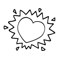 line drawing cartoon flaming heart