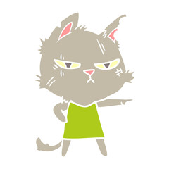 tough flat color style cartoon cat girl pointing