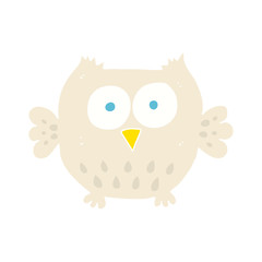 flat color illustration of a cartoon happy owl