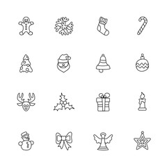 Christmas linear icon set on white, for New Year and design.