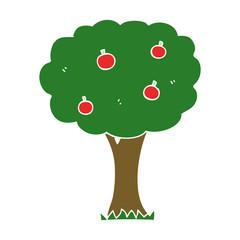 flat color style cartoon apple tree