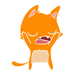 flat color style cartoon yawning cat