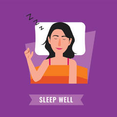 Sleep well. Woman sleeping at night illustration