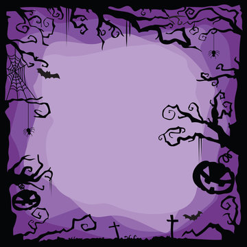 Vector Halloween purple background with flying bats, spiders, web, cobweb, pumpkins, tombs, tree.