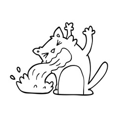 line drawing cartoon cat being sick