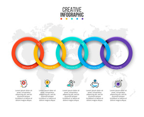 Vector rings infographic. Business data visualization. Presentation with 5 steps, options, parts or processes. Communication concept.