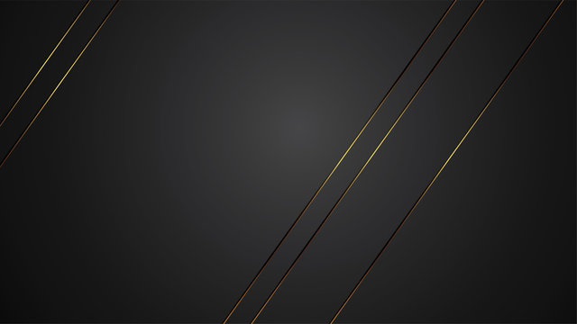 luxury black background banner vector illustration with gold strip art deco line for banner