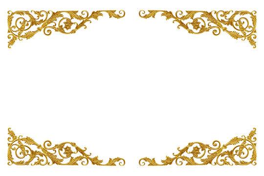 Ornament elements vintage gold floral for decoration