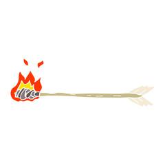 flat color illustration of a cartoon flaming arrow