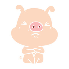 flat color style cartoon angry pig sat waiting