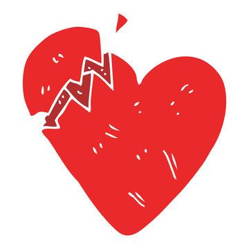 flat color illustration of a cartoon broken heart