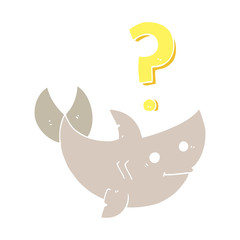 flat color style cartoon shark asking question