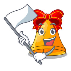 With flag golden christmas bell isolated on mascot