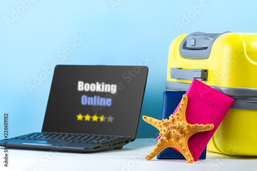 Online booking  Order tickets and book hotels online  A bright