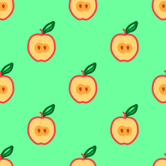 Apple seamless pattern. Autumn, summer vintage design icon. Vector fruit illustration. Green background. Hand drawn cute apples with cut sliced core for textile, manufacturing, fabrics and decor.