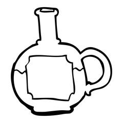 line drawing cartoon food bottle