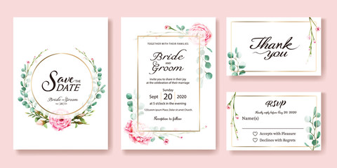 Wedding Invitation, save the date, thank you, rsvp card Design template. Vector. Pink rose, silver dollar leaves. Watercolor style.