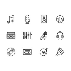 Simple set modern and retro music equipment vector line icon. Contains such icons notes, microphone, music speaker, tape recorder, equalizer, headphones, vintage vinyl disc and player, film cassette.