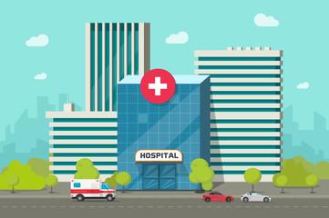 Hospital building vector illustration, flat cartoon modern medical center or clinic on city street