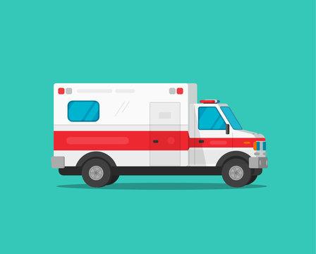Ambulance emergency car vector illustration, flat cartoon medical vehicle auto isolated