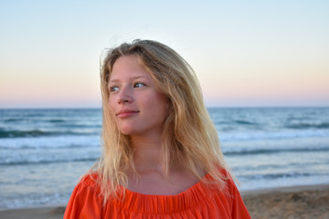 portrait of teenage girl on the beach
