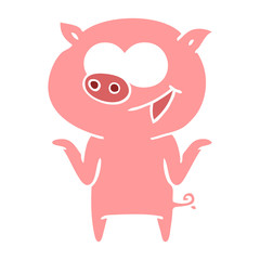 flat color style cartoon pig with no worries