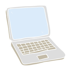 flat color illustration of a cartoon laptop computer